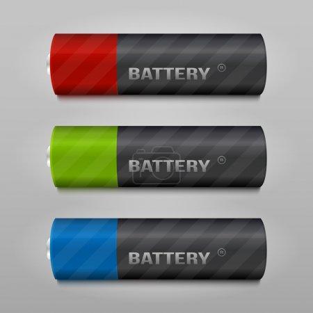 Illustration pour Ensemble de vecteurs de batterie, illustration vectorielle - image libre de droit