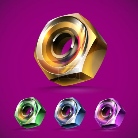 Illustration for Metal nuts icons,  vector illustration - Royalty Free Image
