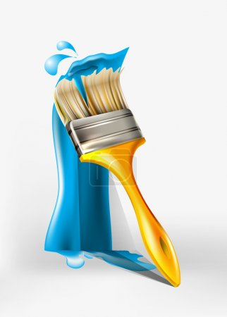 Paint brush painting with blue paint