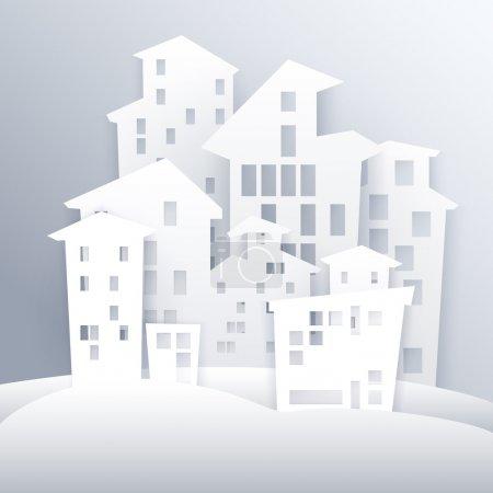 Cartoon white city vector