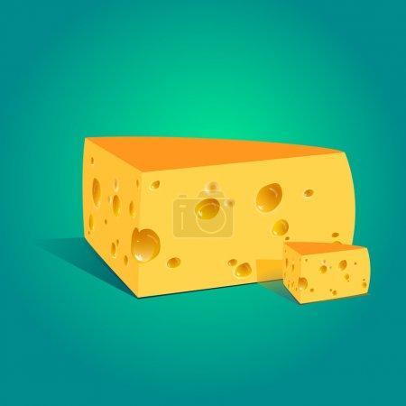Illustration pour Illustration vectorielle d'un morceau de fromage. - image libre de droit