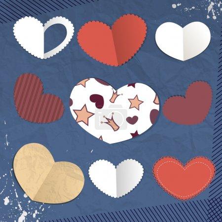 Vector paper hearts vector illustration