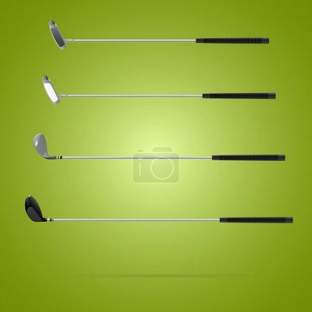 Illustration pour Quatre types différents de clubs de golf - image libre de droit