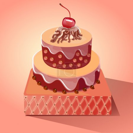 Illustration pour Délicieux gâteau aux cerises ! illustration vectorielle - image libre de droit