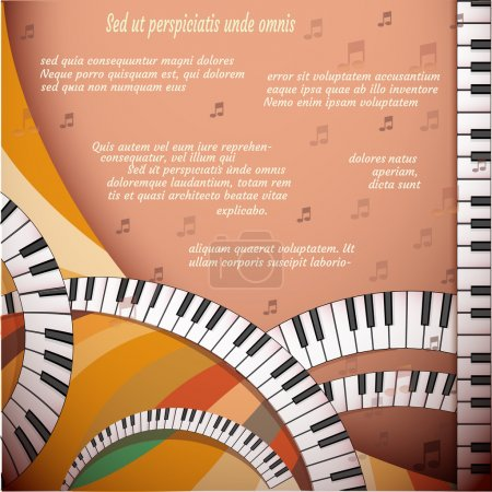 Musical background with piano keyboard