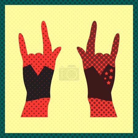 Mains en l'air montrant signe de roche grunge illustration