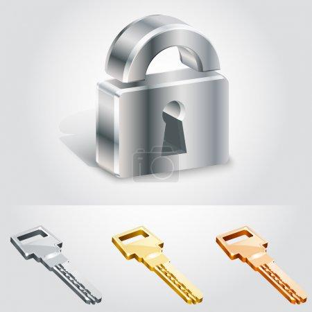 Vector illustration of keys and locks