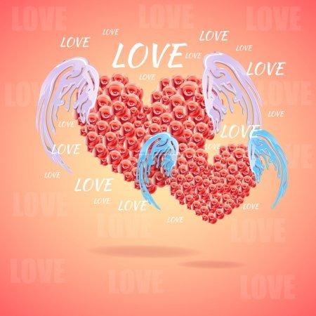 Illustration pour Coeur rose avec ailes d'ange - image libre de droit