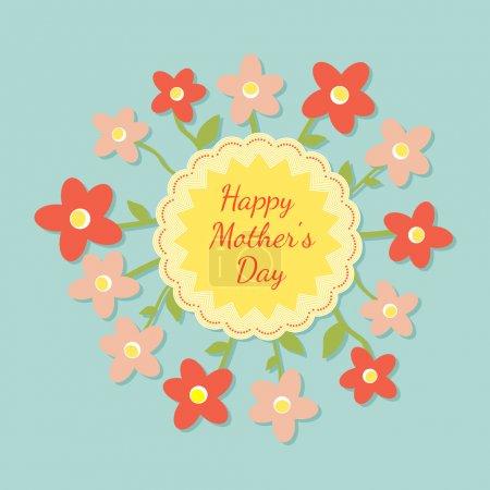 Illustration pour Heureuse carte de fête des mères avec des fleurs. illustration vectorielle - image libre de droit