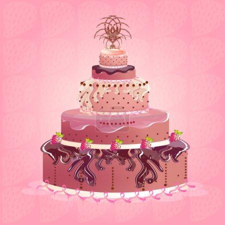 Illustration pour Gâteau aux fraises, design vectoriel - image libre de droit
