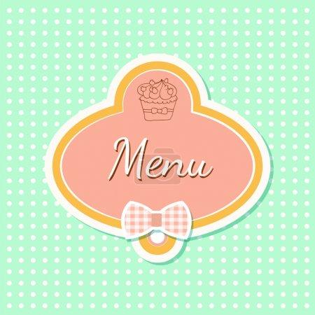 Illustration pour Menu avec illustration vectorielle cupcake - image libre de droit