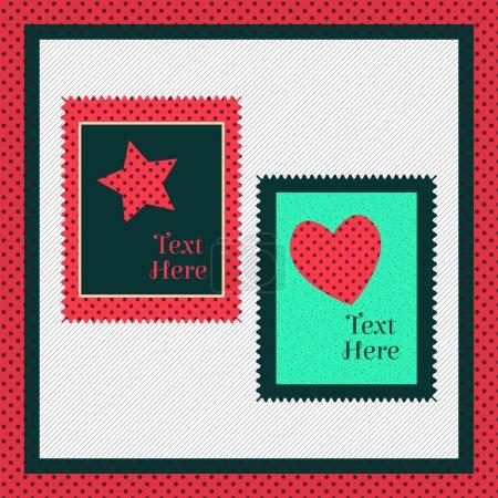 Carte de voeux avec coeur et étoile