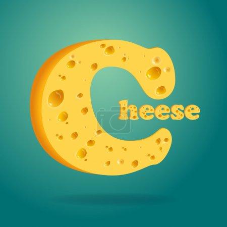 Illustration pour Illustration de fromage Word écrit avec du fromage sur fond isolé - image libre de droit