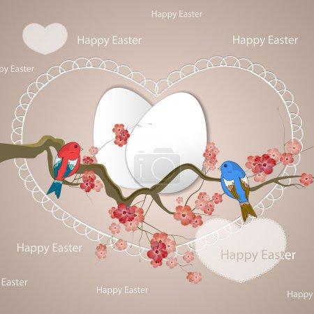Joyeux oiseaux de Pâques illustration vectorielle