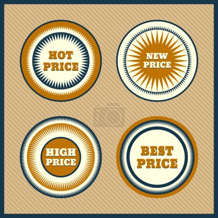 Illustration for Collection of Premium Quality Labels with retro vintage styled design - Royalty Free Image
