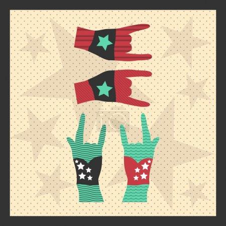 Illustration pour Mains en l'air montrant signe de roche grunge illustration - image libre de droit