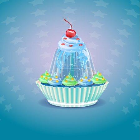 Illustration pour Cupcake avec illustration vectorielle cerise - image libre de droit