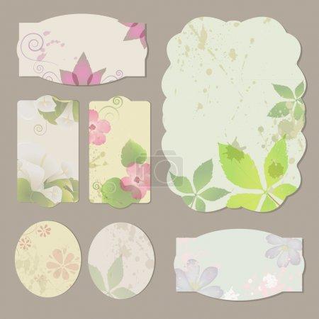 Illustration pour Collection d'étiquettes, bannières et emblèmes floraux rétro grunge - image libre de droit