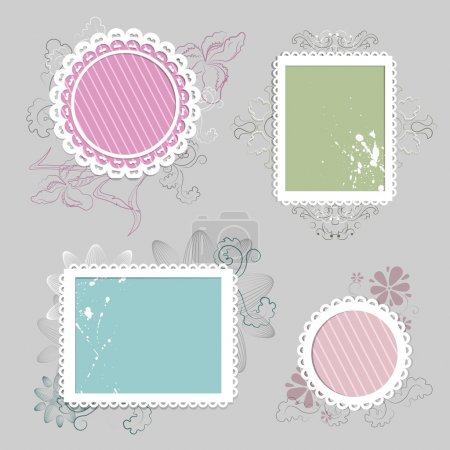 Collection of floral retro grunge labels, banners and emblems with an empty seat for your text