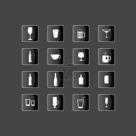 Drink icons set vector illustration