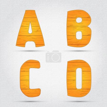 Wooden vector font. A, B, C, D