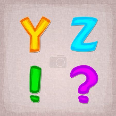 Vector colorful font. Y, Z