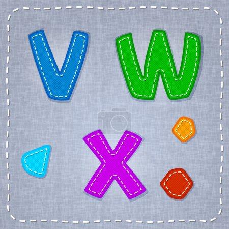 Vector stitches font. V, W, X
