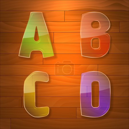 Colorful glass vector font. A, B, C, D