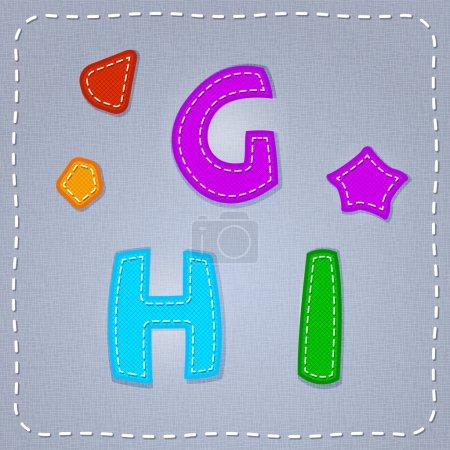 Vector stitches font. G, H, I