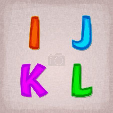 Vector colorful font. I, J, K, L
