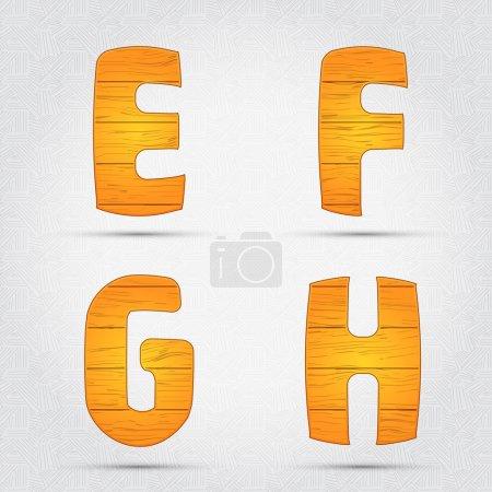 Illustration pour Fonte vectorielle en bois. E, F, G, H - image libre de droit