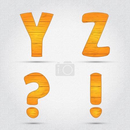 Illustration pour Fonte vectorielle en bois. Y, Z - image libre de droit