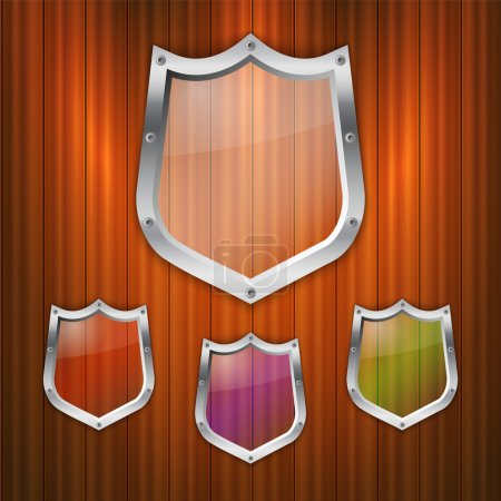 Illustration for Vector set of glass shields. - Royalty Free Image
