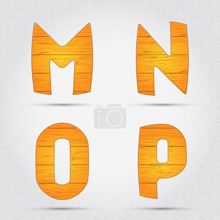 Wooden vector font. M, N, O, P