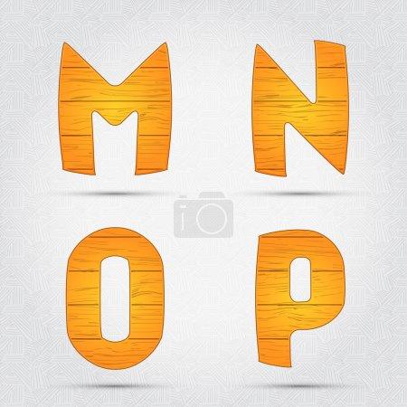 Illustration pour Fonte vectorielle en bois. M, N, O, P - image libre de droit