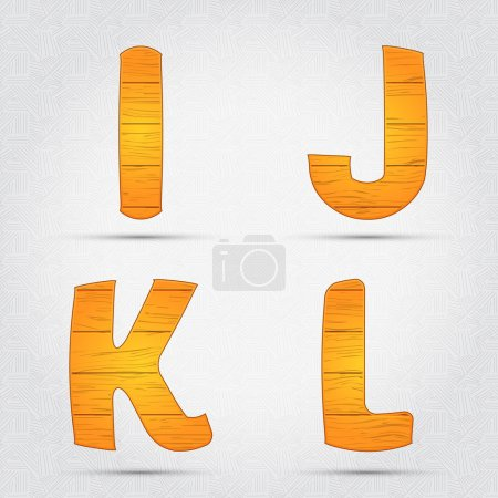 Illustration pour Fonte vectorielle en bois. I, J, K, L - image libre de droit