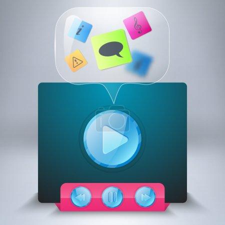 Illustration pour Icône vectorielle lecteur multimédia - image libre de droit