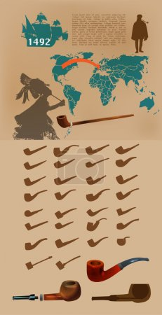 Vector infographic elements with smoking pipes.