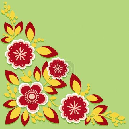 Grußkarte mit Blumen. Vektor.