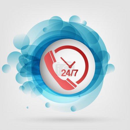 Photo pour Illustration vectorielle du centre d'appels du support client toute la journée - image libre de droit