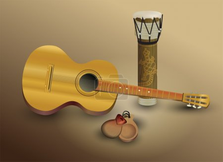 Guitar and percussion . vector illustration