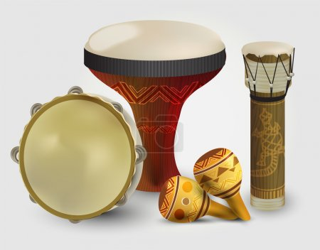 Percussion drums collection vector illustration