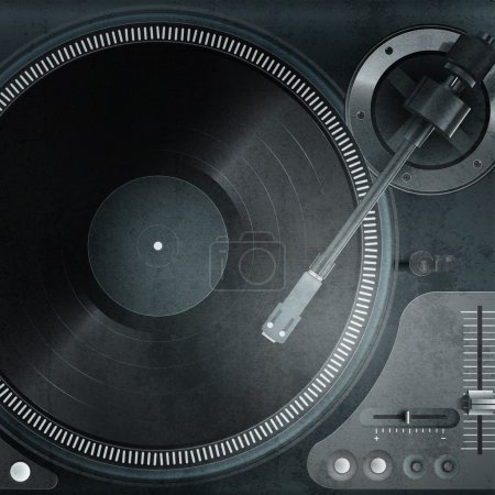 Vector illustration of a turntable with vinyl record.