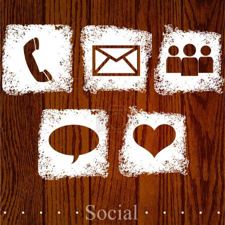 Icônes sociales vectorielles. illustration vectorielle
