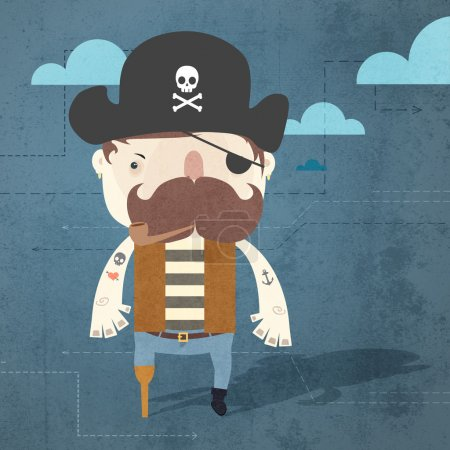 Vector grunge background with pirate.