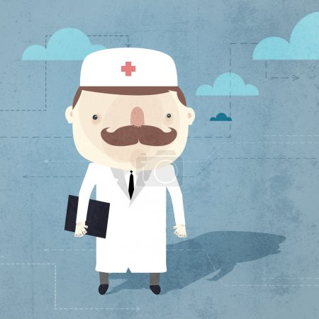 Vector grunge background with doctor.