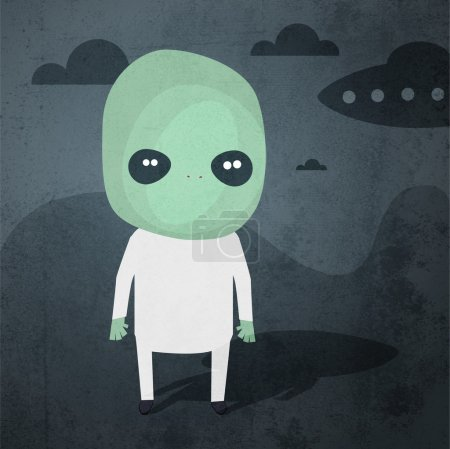 Illustration for Vector grunge background with aliens. - Royalty Free Image