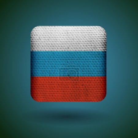 Illustration pour Drapeau Russie avec texture tissu. Icône vectorielle . - image libre de droit