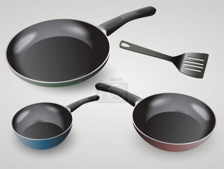 Vector set of frying pans.