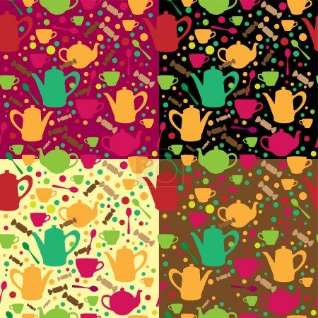 Illustration pour Fond vectoriel avec différentes théières . - image libre de droit